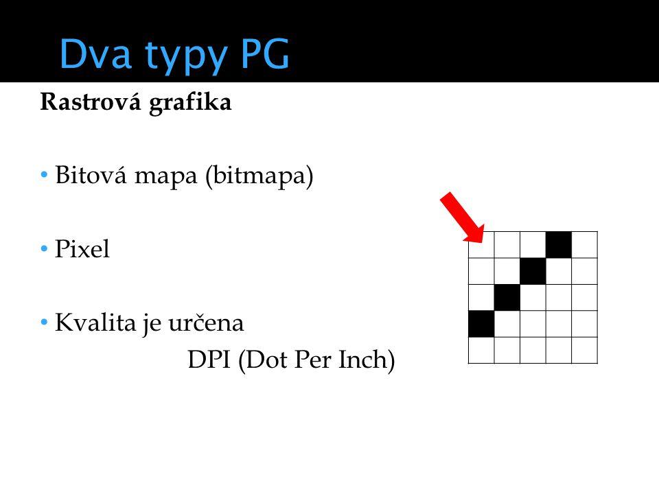 Dva typy PG Rastrová grafika Bitová mapa (bitmapa) Pixel Kvalita je určena DPI (Dot Per Inch)