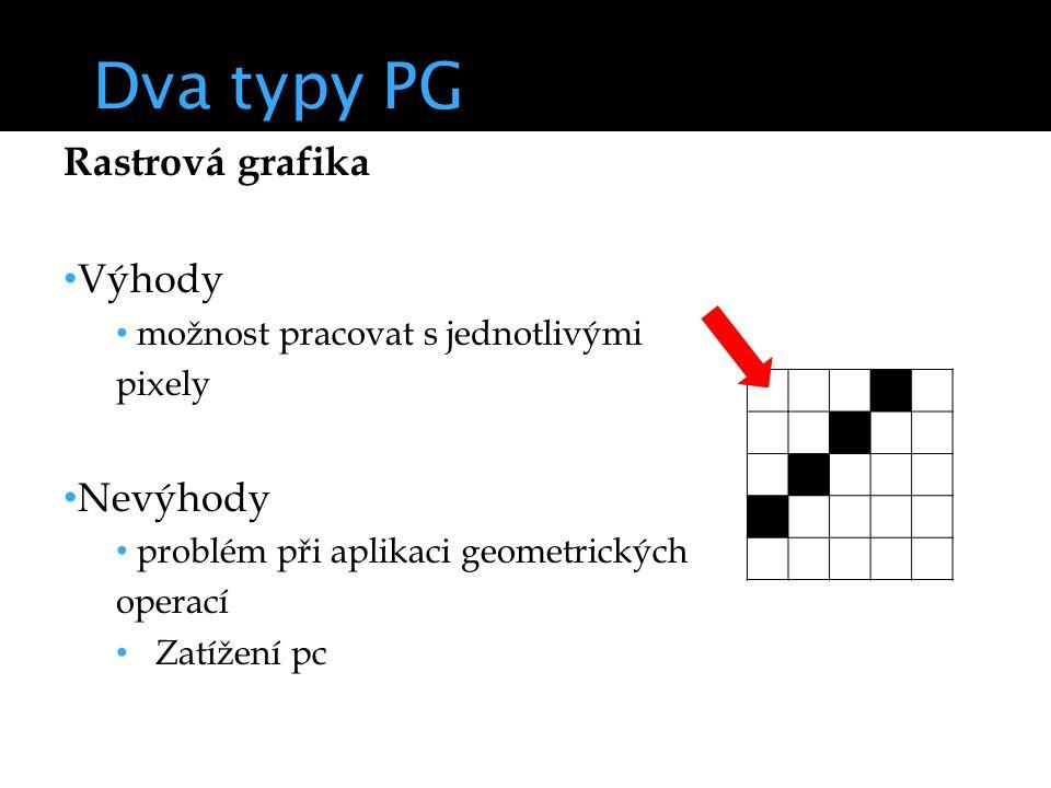 Dva typy PG Rastrová grafika Výhody možnost pracovat s jednotlivými pixely Nevýhody problém při aplikaci geometrických operací Zatížení pc