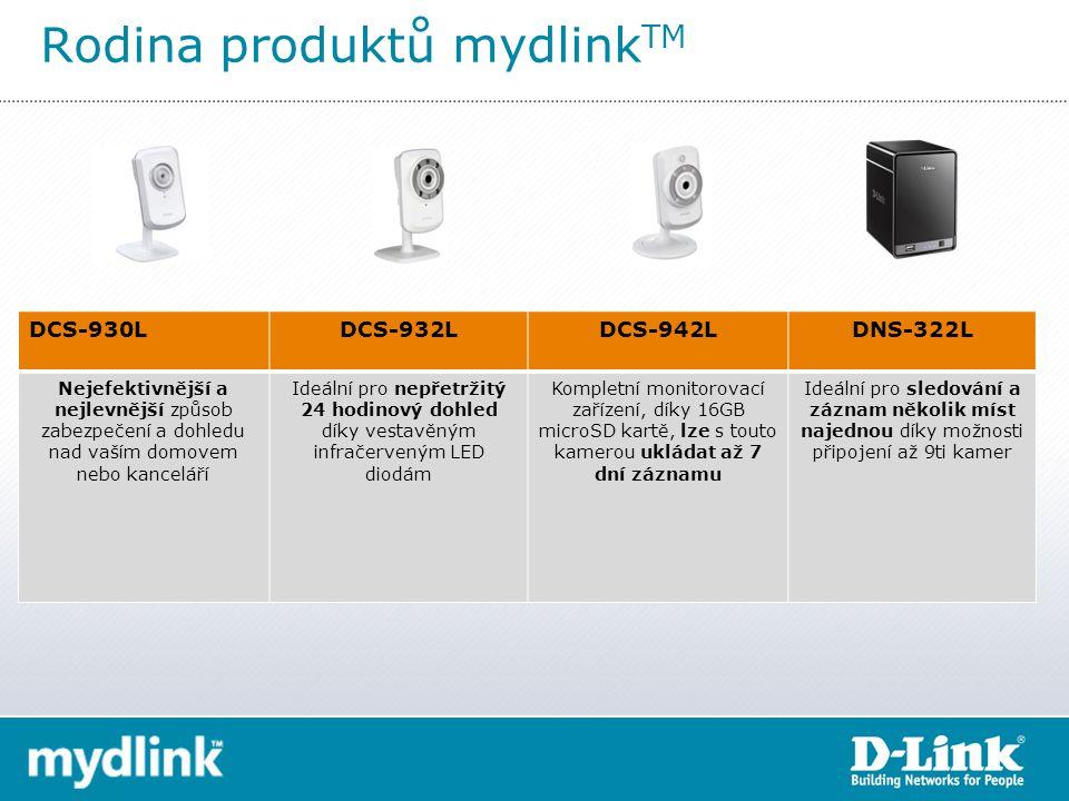 DCS-930LDCS-932LDCS-942LDNS-322L Nejefektivnější a nejlevnější způsob zabezpečení a dohledu nad vaším domovem nebo kanceláří Ideální pro nepřetržitý 24 hodinový dohled díky vestavěným infračerveným LED diodám Kompletní monitorovací zařízení, díky 16GB microSD kartě, lze s touto kamerou ukládat až 7 dní záznamu Ideální pro sledování a záznam několik míst najednou díky možnosti připojení až 9ti kamer