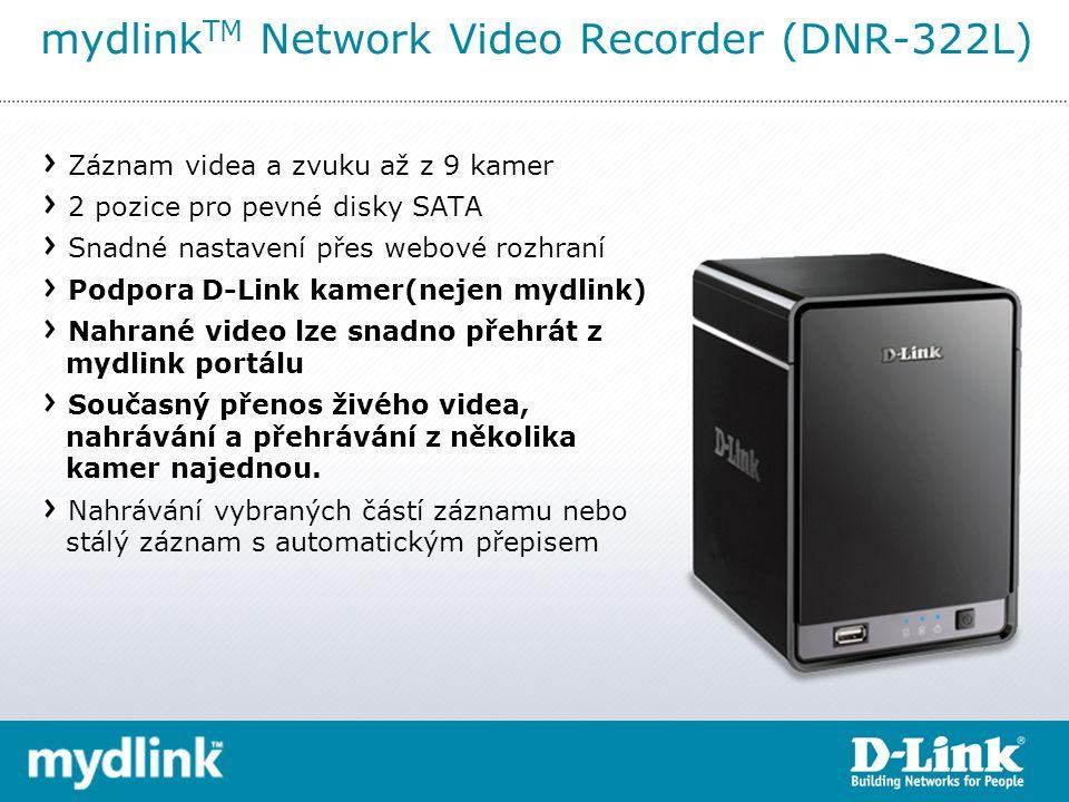 mydlink TM Network Video Recorder (DNR-322L) Záznam videa a zvuku až z 9 kamer 2 pozice pro pevné disky SATA Snadné nastavení přes webové rozhraní Podpora D-Link kamer(nejen mydlink) Nahrané video lze snadno přehrát z mydlink portálu Současný přenos živého videa, nahrávání a přehrávání z několika kamer najednou.
