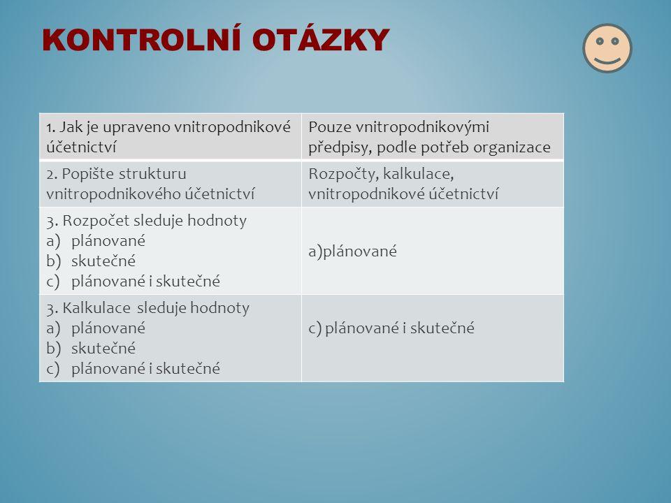 1. Jak je upraveno vnitropodnikové účetnictví Pouze vnitropodnikovými předpisy, podle potřeb organizace 2. Popište strukturu vnitropodnikového účetnic