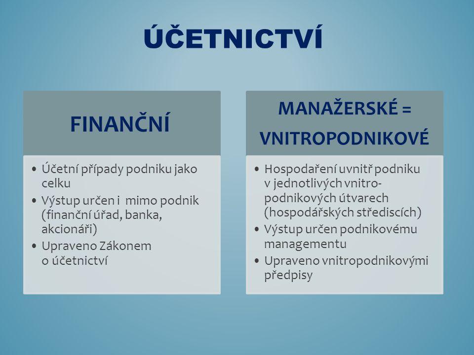 FINANČNÍ Účetní případy podniku jako celku Výstup určen i mimo podnik (finanční úřad, banka, akcionáři) Upraveno Zákonem o účetnictví MANAŽERSKÉ = VNI