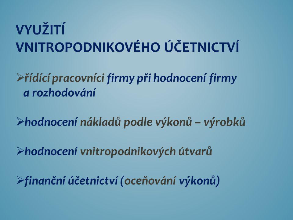 STRUKTURA VNITROPODNIKOVÉHO ÚČETNICTVÍ 2. KALKULACE 1. ROZPOČTY 3. VNITROPODNIKOVÉ ÚČETNICTVÍ