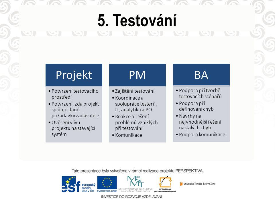 5. Testování Projekt Potvrzení testovacího prostředí Potvrzení, zda projekt splňuje dané požadavky zadavatele Ověření vlivu projektu na stávající syst