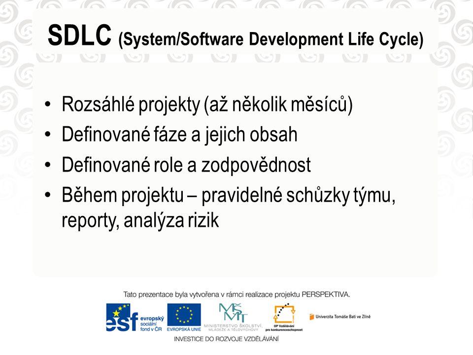 Rozsáhlé projekty (až několik měsíců) Definované fáze a jejich obsah Definované role a zodpovědnost Během projektu – pravidelné schůzky týmu, reporty, analýza rizik SDLC (System/Software Development Life Cycle)
