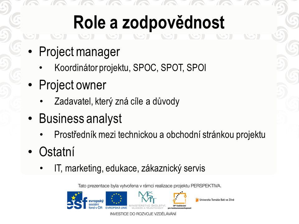 Project manager Koordinátor projektu, SPOC, SPOT, SPOI Project owner Zadavatel, který zná cíle a důvody Business analyst Prostředník mezi technickou a obchodní stránkou projektu Ostatní IT, marketing, edukace, zákaznický servis Role a zodpovědnost