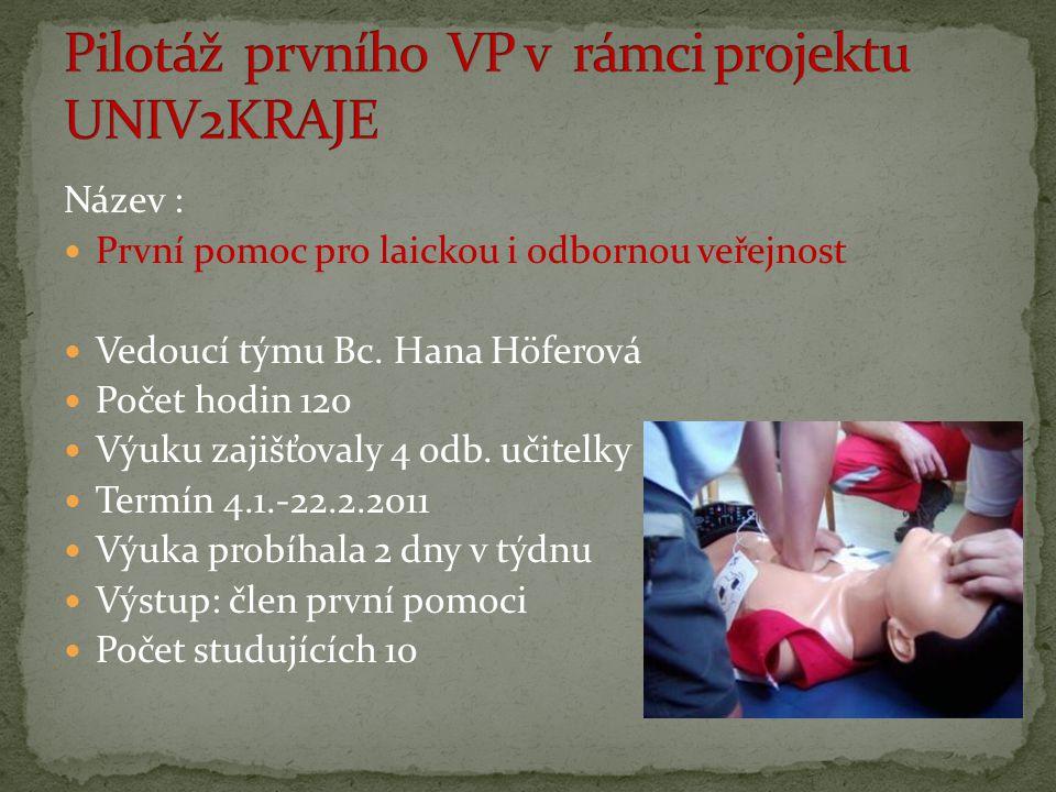 Název : První pomoc pro laickou i odbornou veřejnost Vedoucí týmu Bc. Hana Höferová Počet hodin 120 Výuku zajišťovaly 4 odb. učitelky Termín 4.1.-22.2
