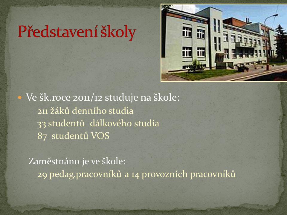 Ve šk.roce 2011/12 studuje na škole: 211 žáků denního studia 33 studentů dálkového studia 87 studentů VOS Zaměstnáno je ve škole: 29 pedag.pracovníků