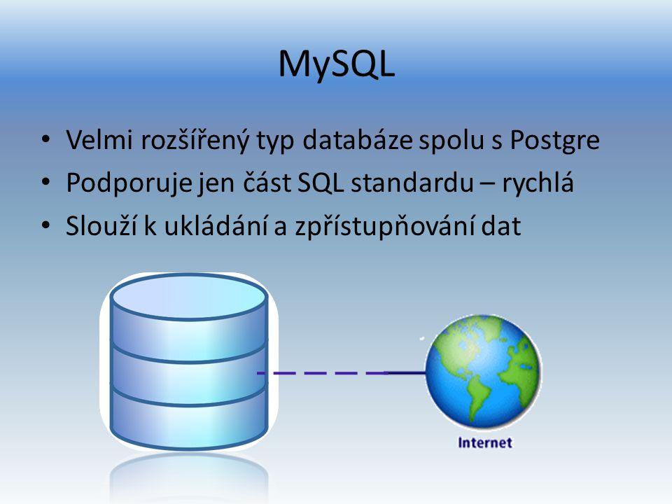 MySQL Velmi rozšířený typ databáze spolu s Postgre Podporuje jen část SQL standardu – rychlá Slouží k ukládání a zpřístupňování dat
