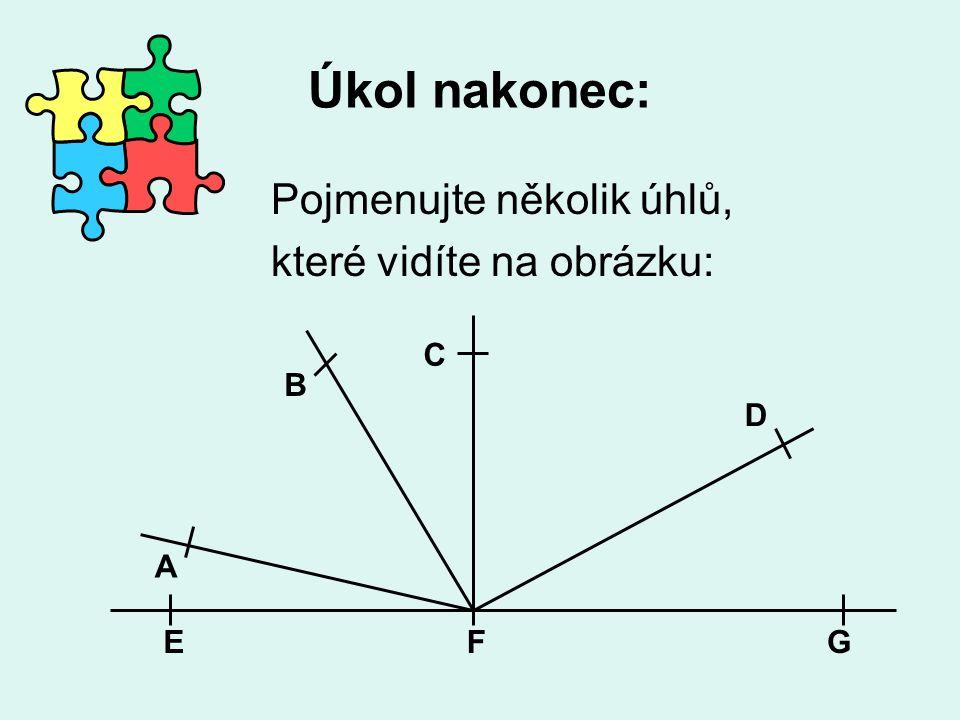 Úkol nakonec: Pojmenujte několik úhlů, které vidíte na obrázku: EFG A B C D