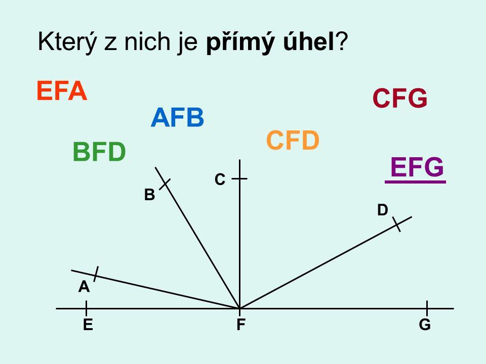 Který z nich je přímý úhel? EFG A B C D EFA AFB BFD CFD CFG EFG
