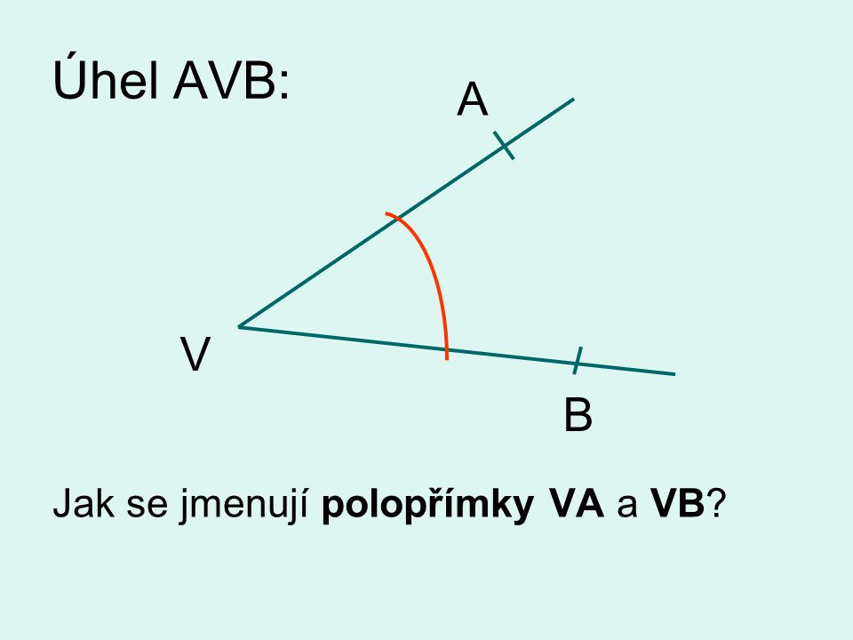 Úhel AVB: Jak se jmenují polopřímky VA a VB? A V B