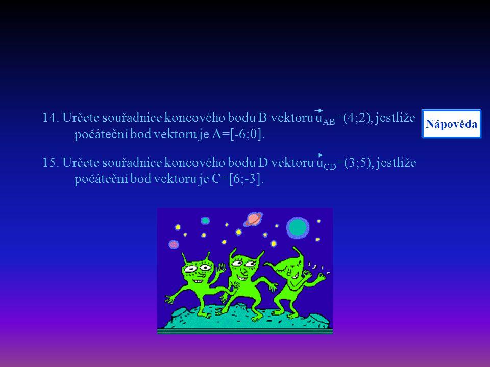 14. Určete souřadnice koncového bodu B vektoru u AB =(4;2), jestliže počáteční bod vektoru je A=[-6;0]. 15. Určete souřadnice koncového bodu D vektoru