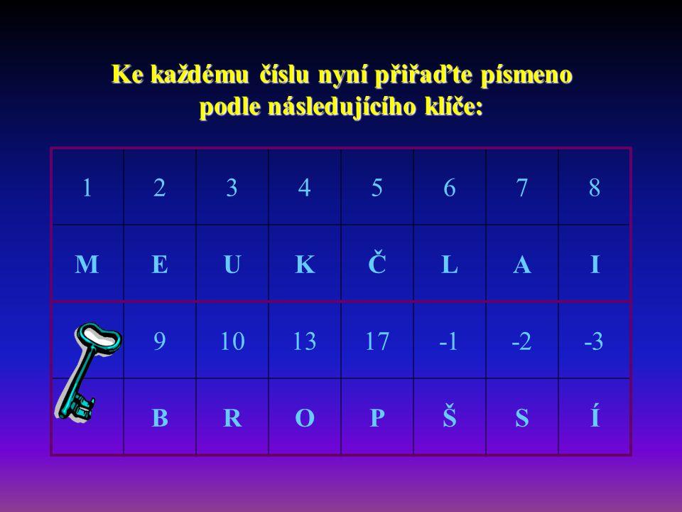 Ke každému číslu nyní přiřaďte písmeno podle následujícího klíče: 12345678 MEUKČLAI 9101317-2-3 BROPŠSÍ