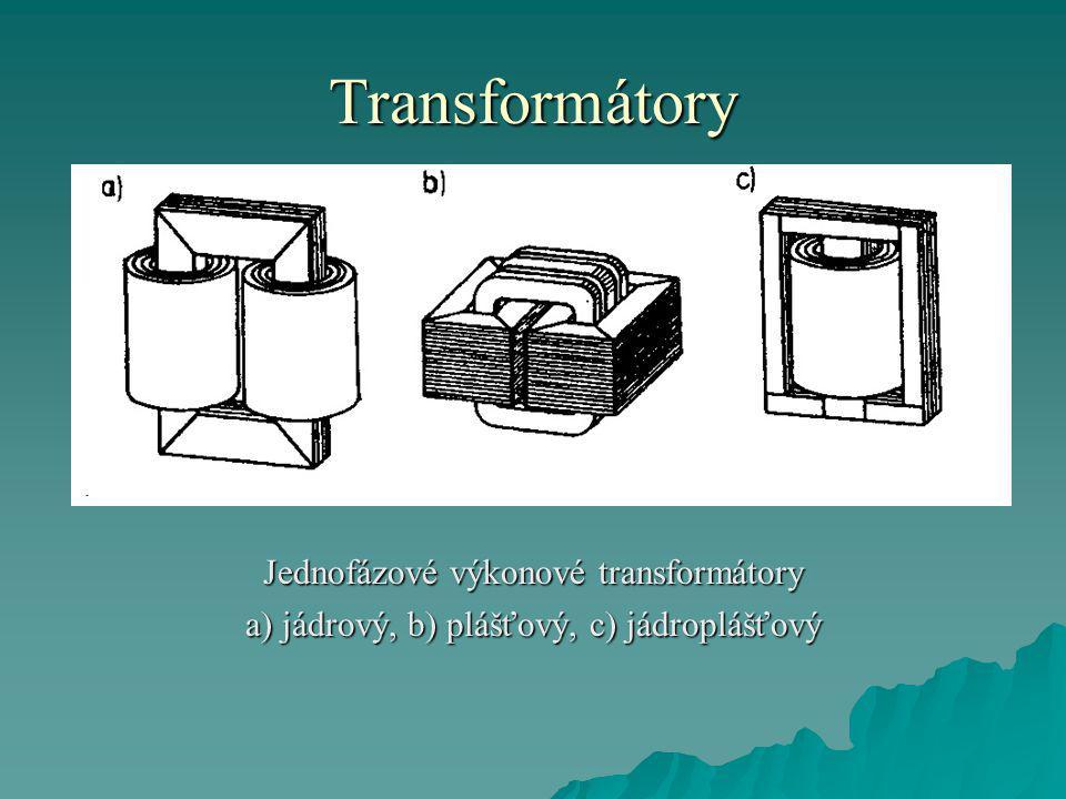 Transformátory Jednofázové výkonové transformátory a) jádrový, b) plášťový, c) jádroplášťový