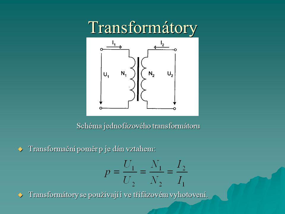 Transformátory Schéma jednofázového transformátoru  Transformační poměr p je dán vztahem:  Transformátory se používají i ve třífázovém vyhotovení.
