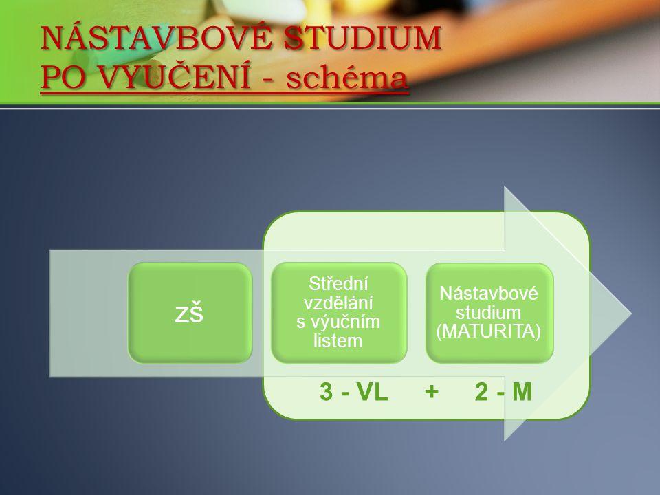 zš Střední vzdělání s výučním listem Nástavbové studium (MATURITA) NÁSTAVBOVÉ STUDIUM PO VYUČENÍ - schéma 3 - VL + 2 - M