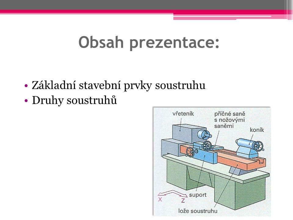 Obsah prezentace: Základní stavební prvky soustruhu Druhy soustruhů