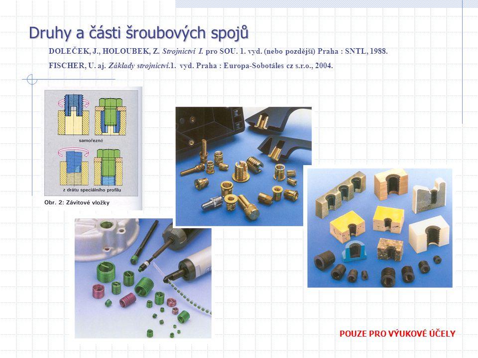 Druhy a části šroubových spojů DOLEČEK, J., HOLOUBEK, Z. Strojnictví I. pro SOU. 1. vyd. (nebo pozdější) Praha : SNTL, 1988. FISCHER, U. aj. Základy s