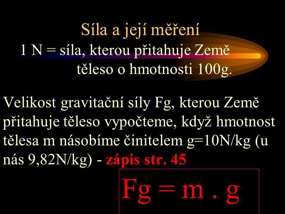 Síla a její měření Velikost gravitační síly Fg, kterou Země přitahuje těleso vypočteme, když hmotnost tělesa m násobíme činitelem g=10N/kg (u nás 9,82N/kg) - zápis str.