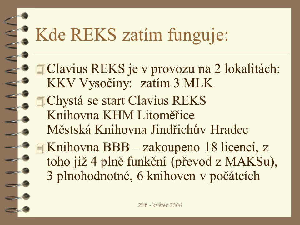 Zlín - květen 2006 Kde REKS zatím funguje: 4 Clavius REKS je v provozu na 2 lokalitách: KKV Vysočiny: zatím 3 MLK 4 Chystá se start Clavius REKS Knihovna KHM Litoměřice Městská Knihovna Jindřichův Hradec 4 Knihovna BBB – zakoupeno 18 licencí, z toho již 4 plně funkční (převod z MAKSu), 3 plnohodnotné, 6 knihoven v počátcích