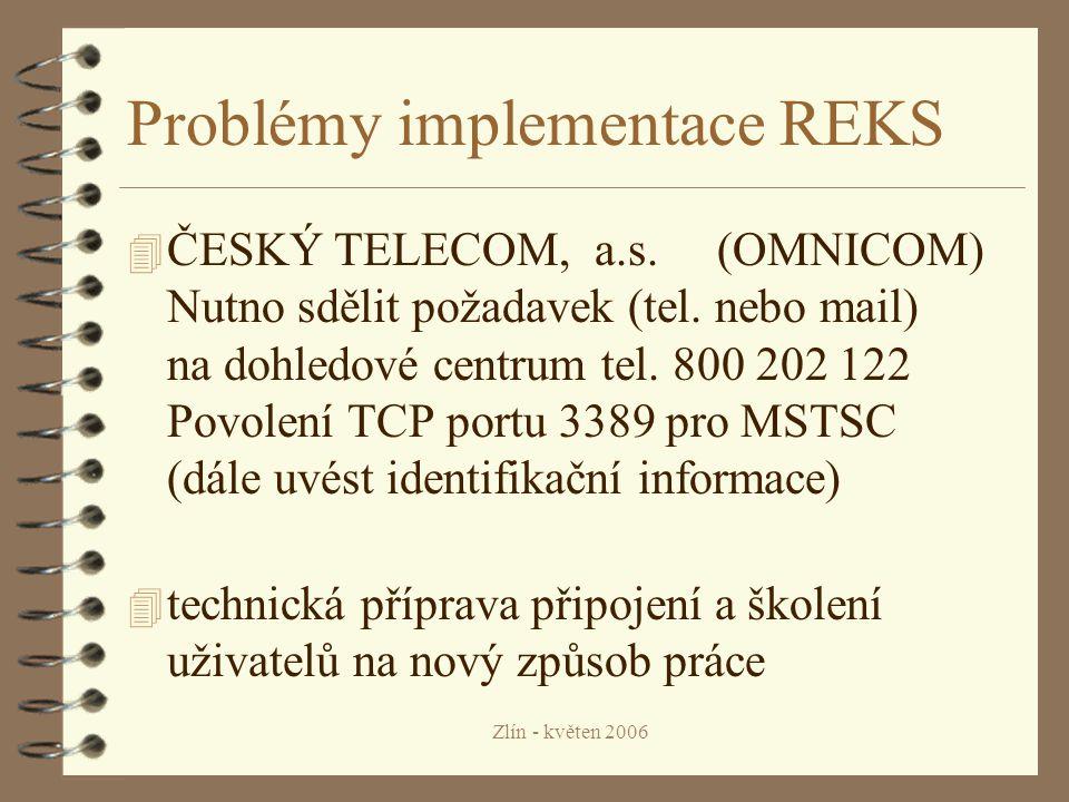 Zlín - květen 2006 Problémy implementace REKS 4 ČESKÝ TELECOM, a.s.