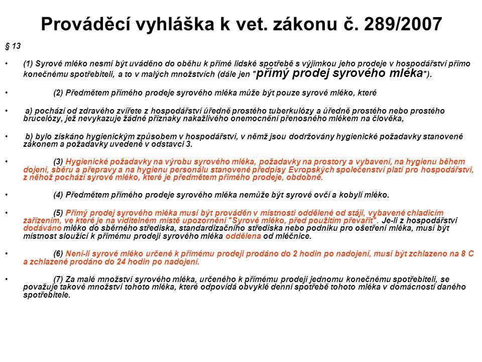 Prováděcí vyhláška k vet. zákonu č. 289/2007 § 13 (1) Syrové mléko nesmí být uváděno do oběhu k přímé lidské spotřebě s výjimkou jeho prodeje v hospod