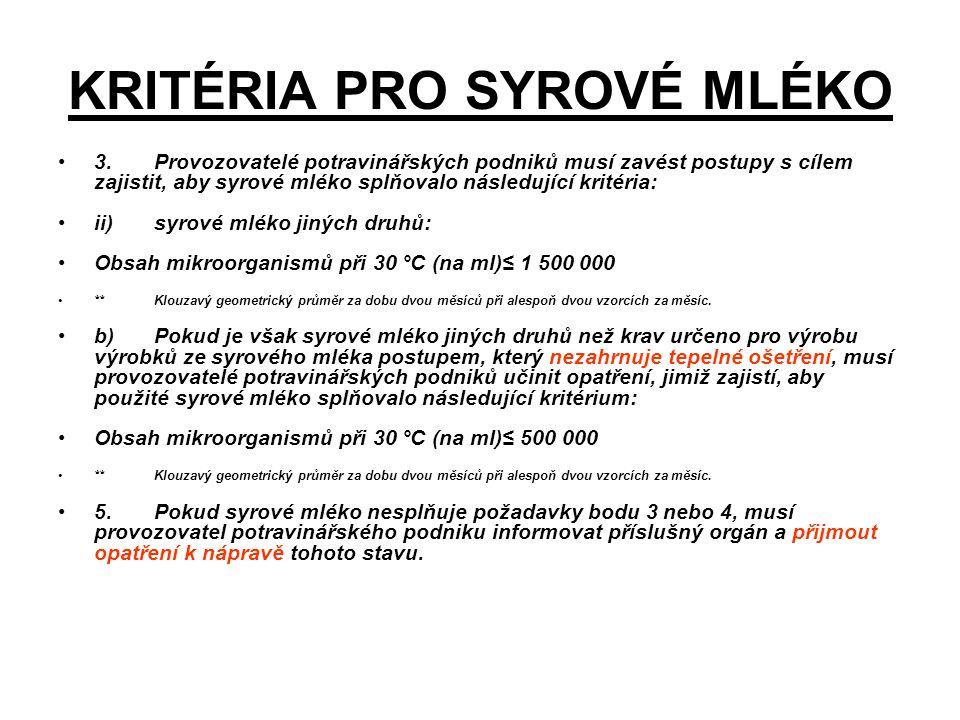 KRITÉRIA PRO SYROVÉ MLÉKO 3. Provozovatelé potravinářských podniků musí zavést postupy s cílem zajistit, aby syrové mléko splňovalo následující kritér