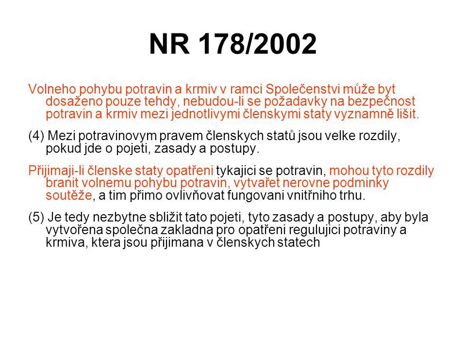 NR 178/2002 Volneho pohybu potravin a krmiv v ramci Společenstvi může byt dosaženo pouze tehdy, nebudou-li se požadavky na bezpečnost potravin a krmiv
