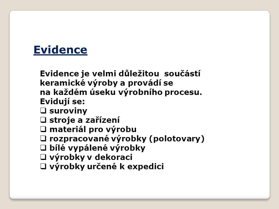 Evidence Evidence je velmi důležitou součástí keramické výroby a provádí se na každém úseku výrobního procesu.