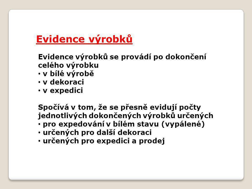 Evidence výrobků Evidence výrobků se provádí po dokončení celého výrobku v bílé výrobě v dekoraci v expedici Spočívá v tom, že se přesně evidují počty jednotlivých dokončených výrobků určených pro expedování v bílém stavu (vypálené) určených pro další dekoraci určených pro expedici a prodej