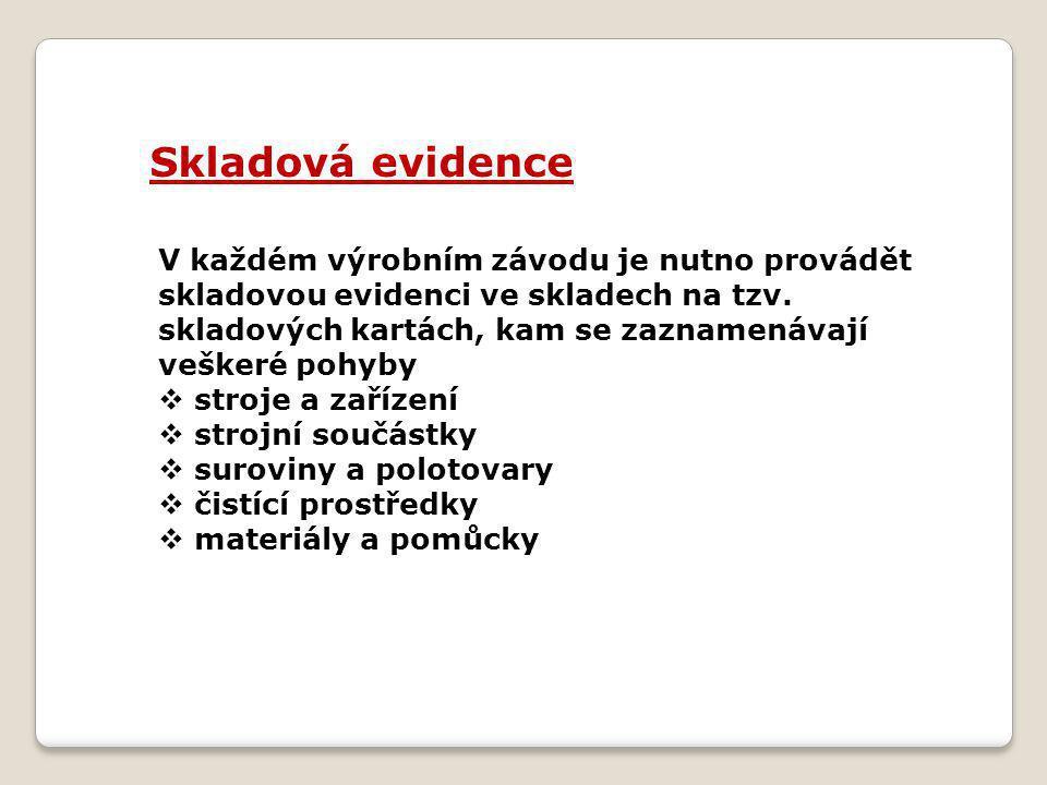 Skladová evidence V každém výrobním závodu je nutno provádět skladovou evidenci ve skladech na tzv.