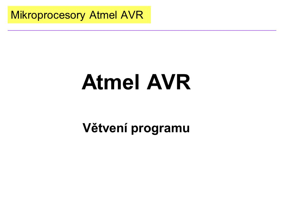Mikroprocesory Atmel AVR Atmel AVR Větvení programu