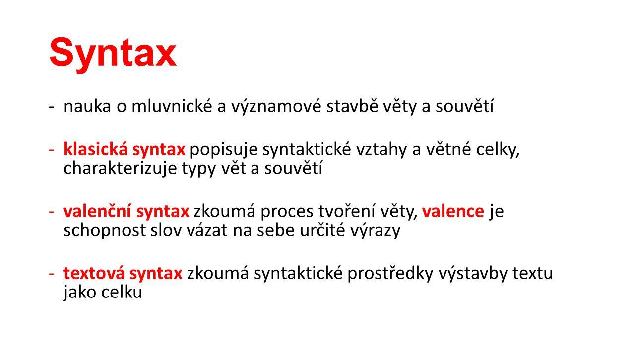 Syntax -nauka o mluvnické a významové stavbě věty a souvětí -klasická syntax popisuje syntaktické vztahy a větné celky, charakterizuje typy vět a souv