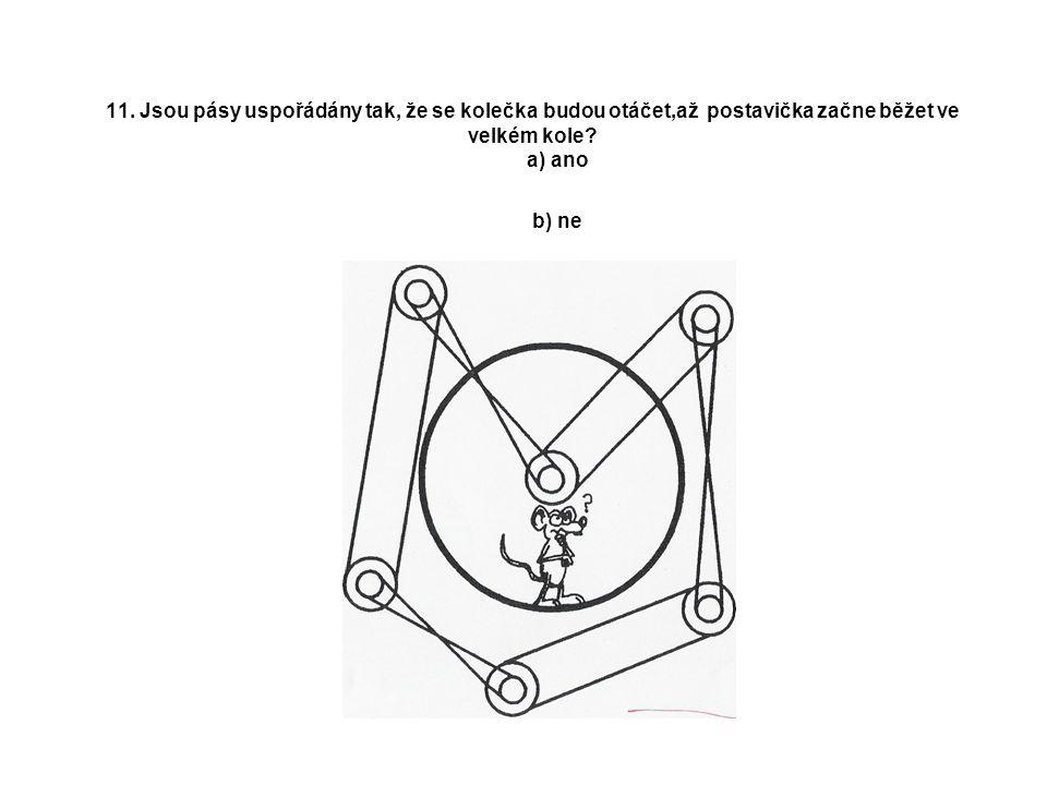 11. Jsou pásy uspořádány tak, že se kolečka budou otáčet,až postavička začne běžet ve velkém kole.