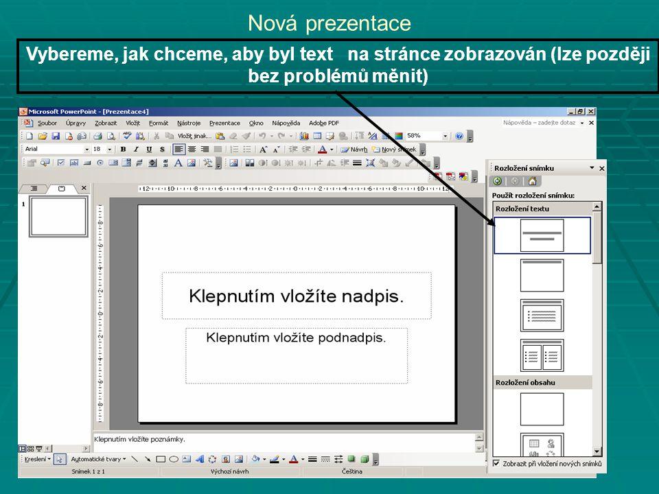 Nová prezentace Vybereme, jak chceme, aby byl text na stránce zobrazován (lze později bez problémů měnit)