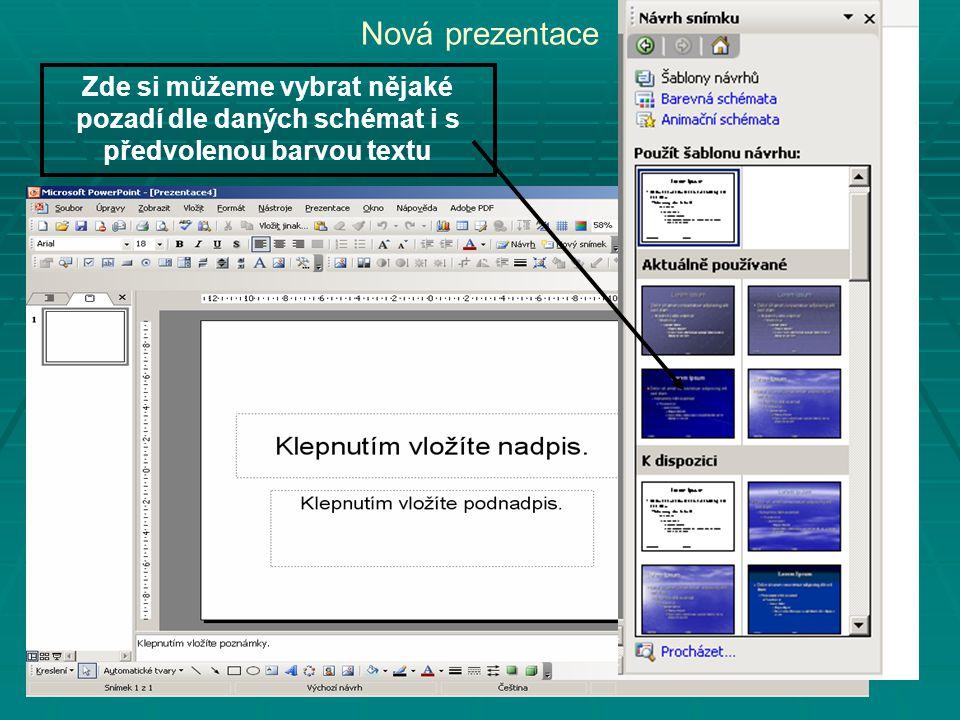 Nová prezentace Zde si můžeme vybrat nějaké pozadí dle daných schémat i s předvolenou barvou textu