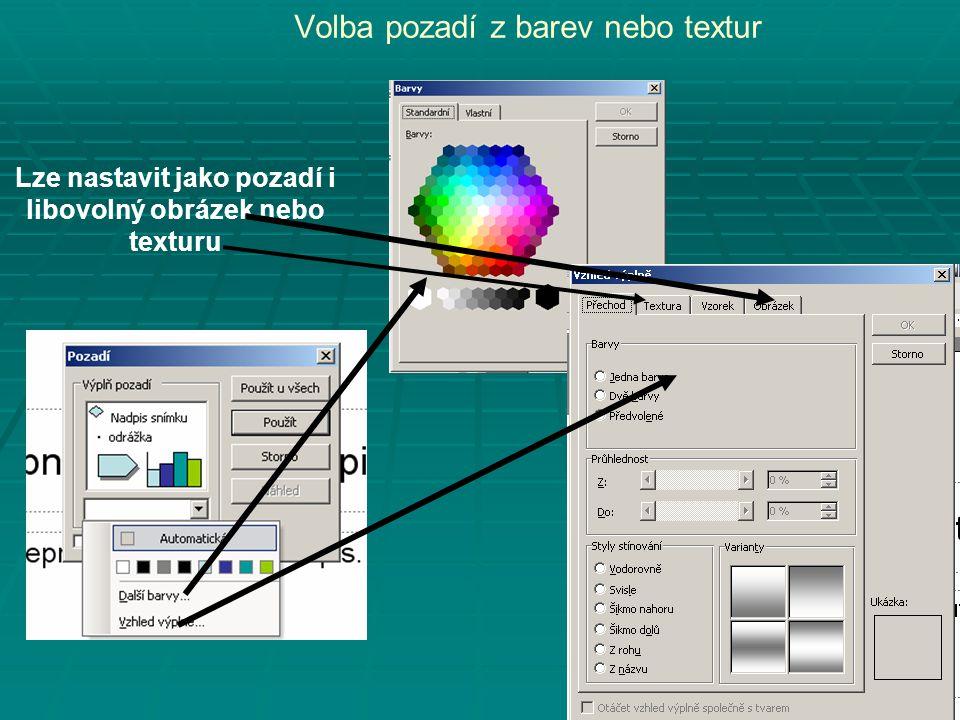 Volba pozadí z barev nebo textur Lze nastavit jako pozadí i libovolný obrázek nebo texturu