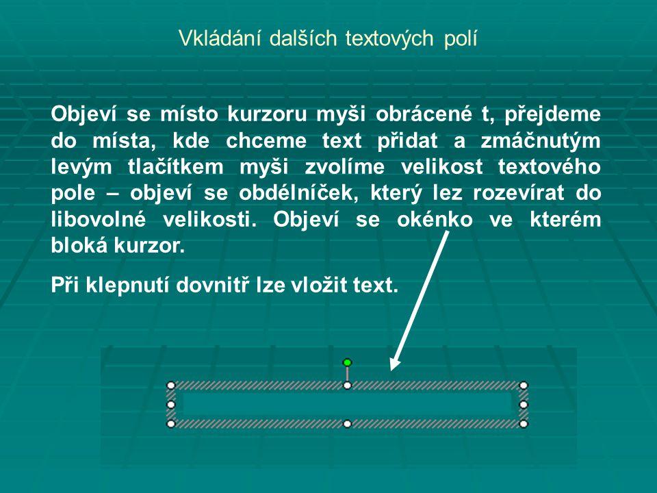Vkládání dalších textových polí Objeví se místo kurzoru myši obrácené t, přejdeme do místa, kde chceme text přidat a zmáčnutým levým tlačítkem myši zvolíme velikost textového pole – objeví se obdélníček, který lez rozevírat do libovolné velikosti.