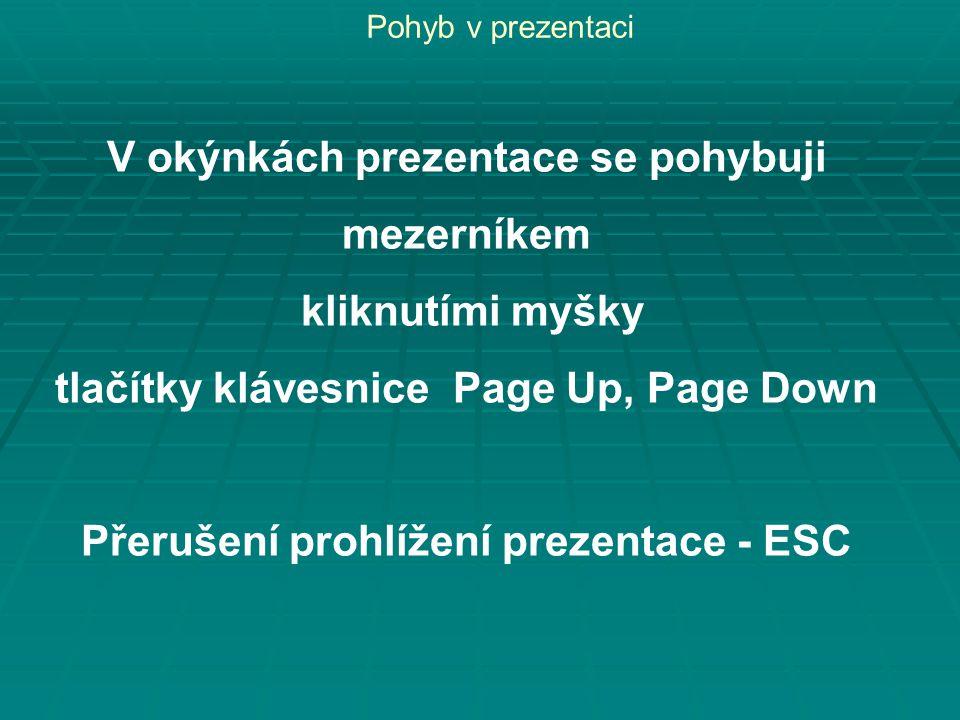 Pohyb v prezentaci V okýnkách prezentace se pohybuji mezerníkem kliknutími myšky tlačítky klávesnice Page Up, Page Down Přerušení prohlížení prezentace - ESC