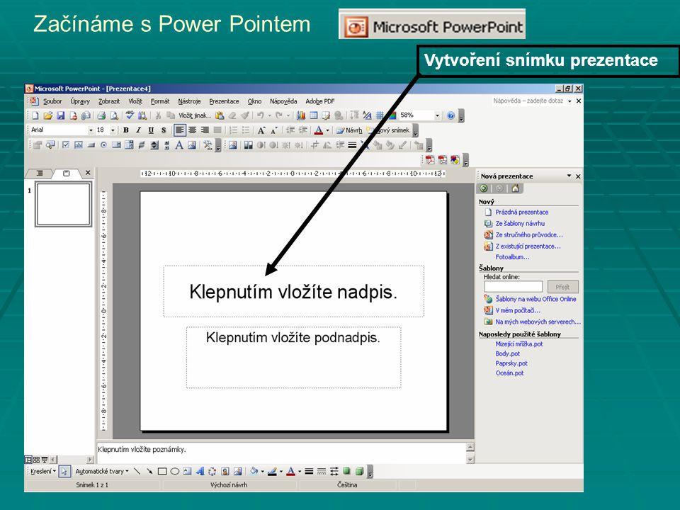 Začínáme s Power Pointem Vytvoření snímku prezentace