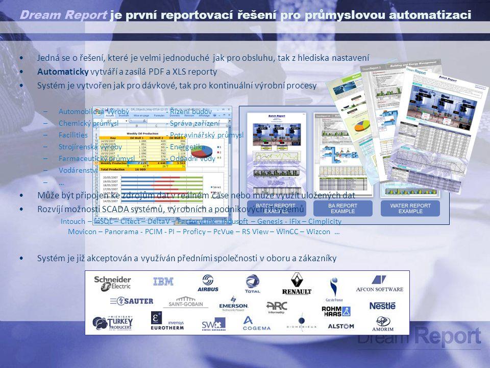 Dream Report Architektura systému Zařízení – Stroje – Linky - Budovy   Web PortalFile ServereMail Tiskárny  3 – Zpracování a analýza dat 4 – Vytvoření reportu 5 – Plnění reportu daty a distribuce reportu Sběr dat v REÁLNÉM ČASE - OPC DA-AE - specifické drivery (scada, PLC,…) Propojení na ARCHIVY HIST.