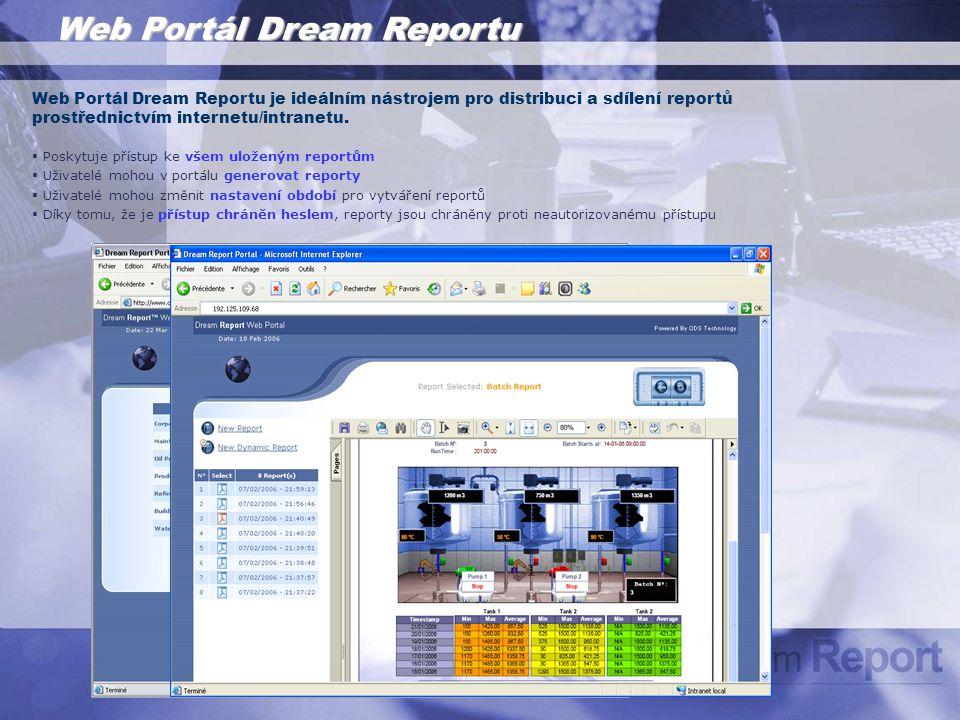 Web Portál Dream Reportu Web Portál Dream Reportu je ideálním nástrojem pro distribuci a sdílení reportů prostřednictvím internetu/intranetu.
