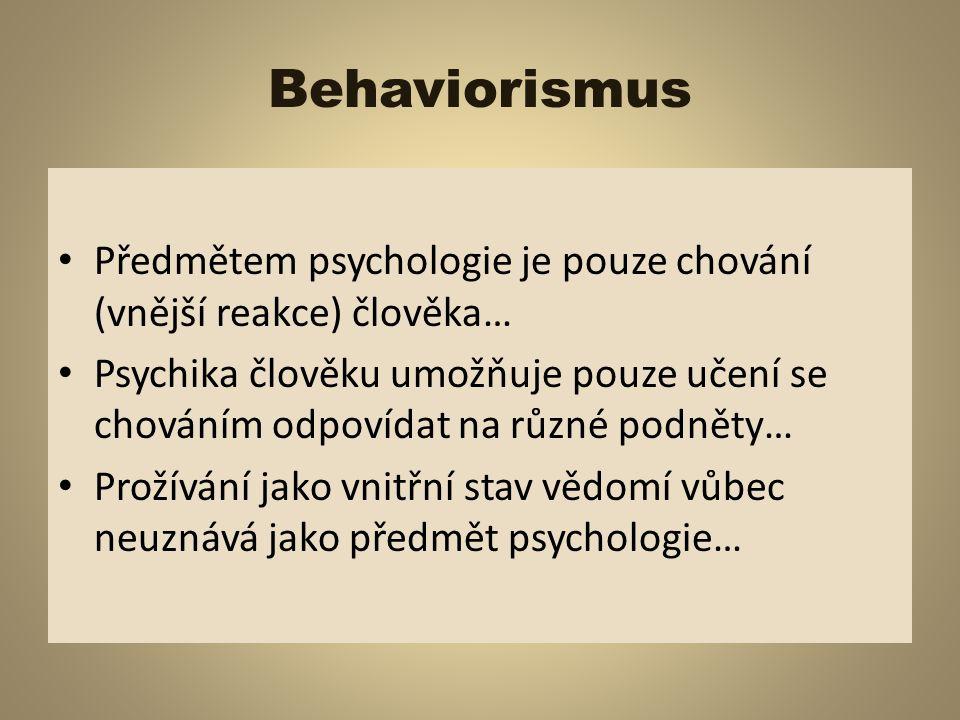 Kognitivní psychologie Kognitivní - poznávací Psychika člověka je určena k aktivnímu poznávání informací (vnímání, pozornost)… Klade velký důraz na význam duševních poznávacích procesů a to zejména myšlení a paměti…