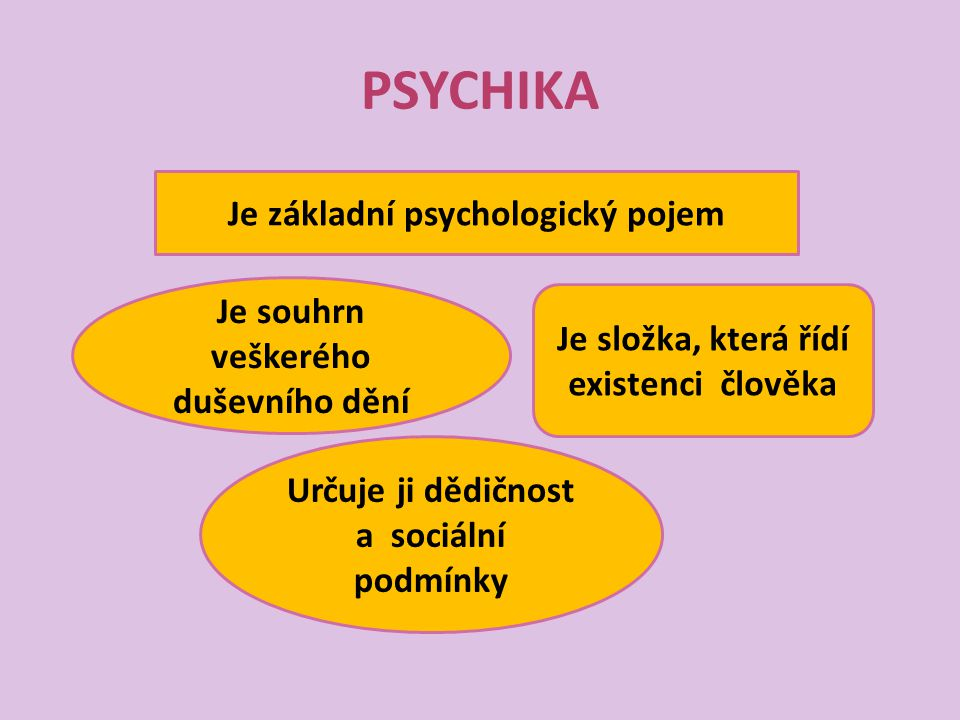 PSYCHIKA Je základní psychologický pojem Je souhrn veškerého duševního dění Je složka, která řídí existenci člověka Určuje ji dědičnost a sociální pod