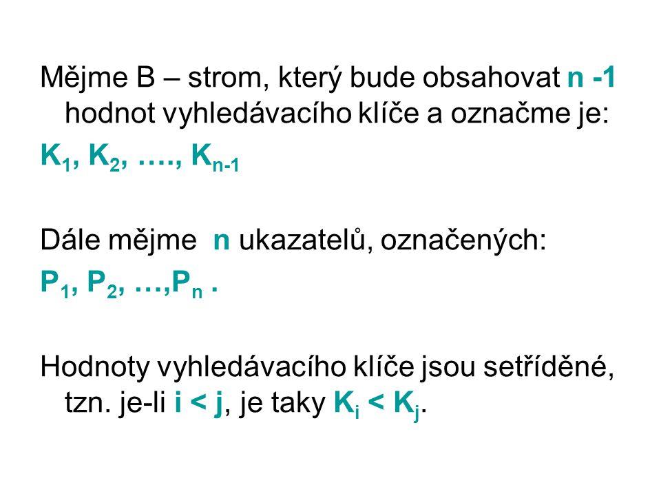 Mějme B – strom, který bude obsahovat n -1 hodnot vyhledávacího klíče a označme je: K 1, K 2, …., K n-1 Dále mějme n ukazatelů, označených: P 1, P 2,