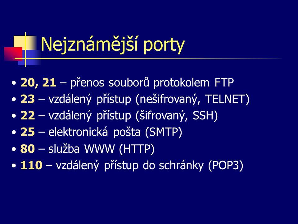 Nejznámější porty 23 – vzdálený přístup (nešifrovaný, TELNET) 22 – vzdálený přístup (šifrovaný, SSH) 25 – elektronická pošta (SMTP) 20, 21 – přenos souborů protokolem FTP 80 – služba WWW (HTTP) 110 – vzdálený přístup do schránky (POP3)