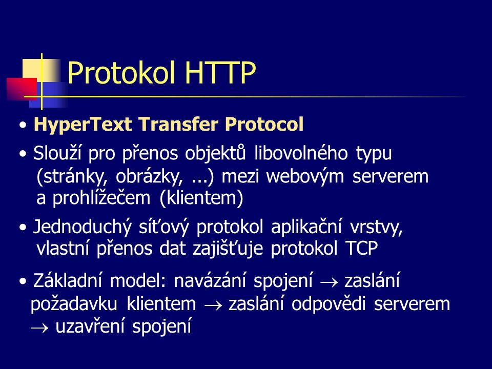 Protokol HTTP Slouží pro přenos objektů libovolného typu (stránky, obrázky,...) mezi webovým serverem a prohlížečem (klientem) Jednoduchý síťový protokol aplikační vrstvy, vlastní přenos dat zajišťuje protokol TCP HyperText Transfer Protocol Základní model: navázání spojení  zaslání požadavku klientem  zaslání odpovědi serverem  uzavření spojení