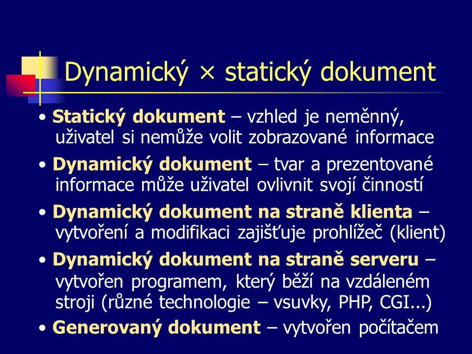 Dynamický × statický dokument Dynamický dokument – tvar a prezentované informace může uživatel ovlivnit svojí činností Dynamický dokument na straně serveru – vytvořen programem, který běží na vzdáleném stroji (různé technologie – vsuvky, PHP, CGI...) Dynamický dokument na straně klienta – vytvoření a modifikaci zajišťuje prohlížeč (klient) Statický dokument – vzhled je neměnný, uživatel si nemůže volit zobrazované informace Generovaný dokument – vytvořen počítačem
