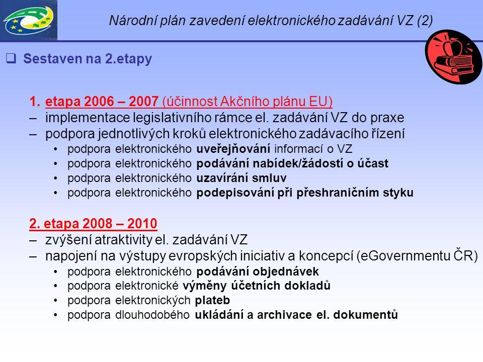 Národní plán zavedení elektronického zadávání VZ (2)  Sestaven na 2.etapy 1.etapa 2006 – 2007 (účinnost Akčního plánu EU) –implementace legislativního rámce el.